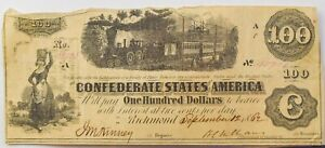 "1862 CSA Confederate Civil War $100 ""Railroad"" Banknote - NO RESERVE - EH13"