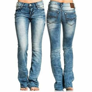 AFFLICTION Women's Denim Jeans JADE RISING EUGENE Embroidered  Biker MMA