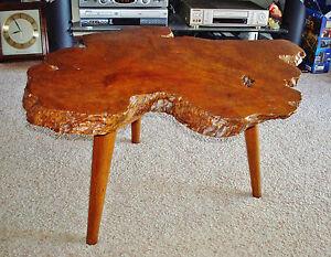 "Mid-Century Modern Redwood Lace Burl 1 3/4"" Thick Slab Coffee Table - Tripod Leg"