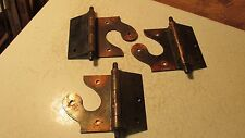 3 Pair Antique Arts & Crafts Coppertone Offset Door Hoinges