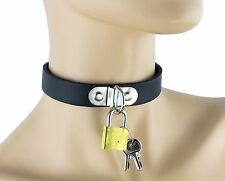 Lock Bondage Sexy Leather Choker Punk Goth Club Wear Fetish Collar