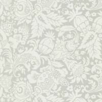 Wallpaper Designer Gray on Eggshell White Bali Fruit and Floral Vine