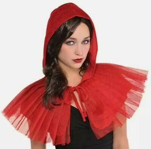 Sexy Little Red Riding Hood Cape Costume Accessory Adult Fairytale Capelet