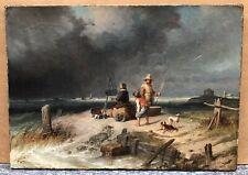 Tableau Ancien Huile Portrait Autoportrait Peintre Paysage Marine Tronville 1846