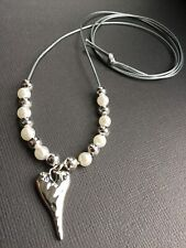 Long Silver Grey Cord necklace with Hammered HEART pendant And Pearls Lagenlook