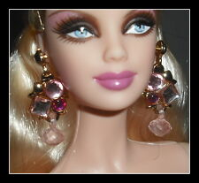JEWELRY MATTEL BARBIE MODEL MUSE DOLL PLASTIC PINK DANGLING HOLIDAY EARRINGS