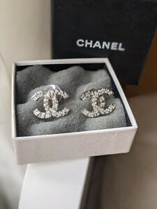 Authentic Chanel Logo Earrings Classic Crystals CC Earrings