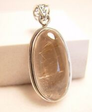RUTILE INCLUDED QUARTZ IN 925 STERLING SILVER PENDANT FROM INDIA #17086