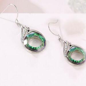 Huggie Hoop Drop Earrings Aurora Borealis Hypoallergenic Surgical Steel