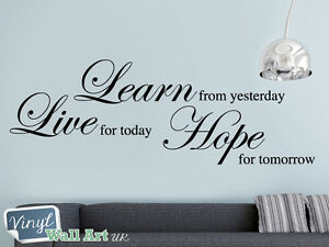 Live Learn Hope Vinyl Wall Art Sticker Decal Inspirational Quote + FREE UK P&P