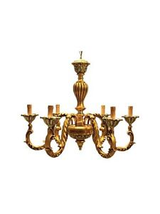 Chandelier Wooden Classic Gold 6 Lights Coll Dbs 250/0.2oz