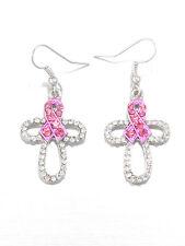 Pink Ribbon Breast Cancer Awareness Cross Rhinestone Silver Tone Earrings