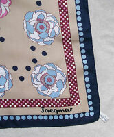 Vintage WOMENS Scarf JACQMAR of LONDON 1970s Retro PINK BLUE ROSES FLORAL