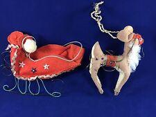 Vintage Felt Reindeer & Sleigh Christmas Holiday Decoration Nice Condition