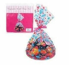 NEW 2 CUPCAKE GIFT BAGS CLEAR FLOWER PATTERN CELLOPHANE & RIBBON