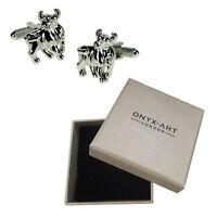 Mens Pair Of Silver Bull Animal Cufflinks & Gift Box By Onyx Art