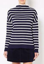 Witchery Sz XL (16) Crepe Stripe Knit Top in Lead Blue