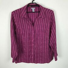 Liz & Me Catherines Blouse Plus Size 3X 26 Pink Metallic Stripe Long Sleeve Top