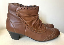 Rieker Ladies Boots 6 39 Brogue Tan Leather Victorian Winter Steampunk Low Heel