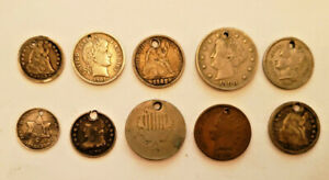 10 Early American Coins All Drilled Ideal For A Charm Bracelet All Different