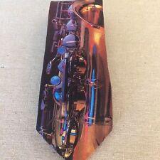 Original Ralph Marlin Saxaphone 1992 Goodell Music Necktie Art By Wil D West