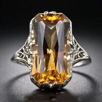 925 Sliver Ring Citrine Gemstone Jewelry Wedding Engagement Party Gift Size 6-10