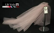 Pink Blush Crystal Veil Wedding Any Length 2 Tier Long Short LBV151 LB Veils UK