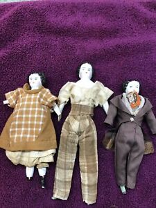 3 ANTIQUE GERMAN CHINA DOLLHOUSE & ORIGINAL DRESS 1870 As Is