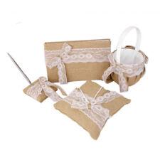 vintage style Wedding Burlap Hessian Lace Bowknot Guest Book Pen Set