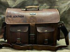 Men's Leather Bag Messenger Laptop Brown Shoulder Briefcase Handbag Easy To Use