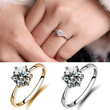 Charm Chic 6mm Simulated Diamond Wedding Rings Luxury Crystal Finger Ring JS