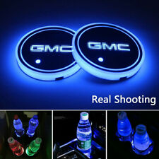 2PCS Car Cup Holder Pad LED Coaster Light 7 Colors USB Charging Mat for GMC