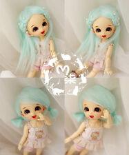 "5-6"" 14cm Water Blue Fabric Fur Wig For AE PukiFee lati 1/8 Doll Antiskid"