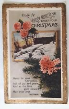 c1914 Christmas Postcard. Snowy Cabin & Pink Flowers on Fir Tree/ Tannenbaum