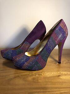 Corelli Collection Purple Faux Suede Diamanté Stiletto Heels Size 8