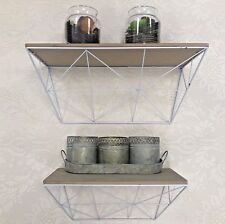 Set Of Two White shabby chic Metal Wooden Abstract Style Shelves