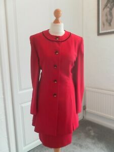 absolutely beautiful vintage 70s/80s red suit jacket & skirt size 14 mansfield.