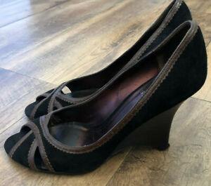 SACHI Ladies Black Suede Brown Wedge Heel Peep Toe Shoes Size 7.5 Used RRP $199