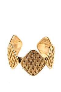 Chanel Gold Tone Vintage Diamond Shaped Cuff Bracelet