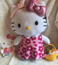"""Easter HELLO KITTY Large 21"""" Plush Porch Greeter Holding Flower Basket- Bunny +"""