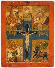 Russia 18-19 JH. Icon Crocifissione di Cristo Dio madre HL. Nikolaus