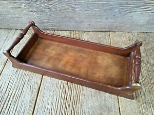 Vintage Wood Wooden Sleigh Look Tray Holder Kitchen Spices Movies Books Napkins