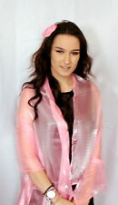Pastel baby Pink Large Organza ball wrap Shawl Stole Evening Scarf Dinner Dance