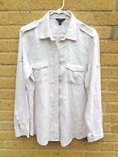 Women's Land's End Military Style Linen Shirt Cream /Neutral Oversize Size M