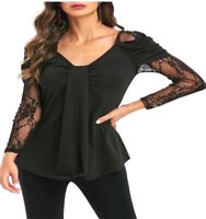 Black Gothic Lace Sleeve Steampunk Jersey Gypsy Stretch T Shirt Blouse Top