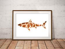 Giraffe Shark Art Print,Nautical Sea Decor, Bathroom Art, Marine Life, Shark Art