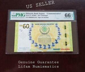 MALAYSIA 60 Ringgit RM60 2017 P-57 Commemorative 60th PMG 66 EPQ GEM UNC