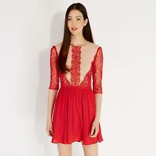 Oasis Women's Red  Adelina Lace Skater Dress 8
