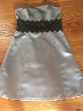 Womens Girls Misses Gray Silver Satin Semi Formal Cocktail Dress Black Lace