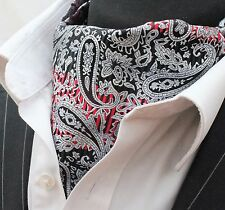 Cravat Ascot Black Red & Silver Paisley with matching hanky.